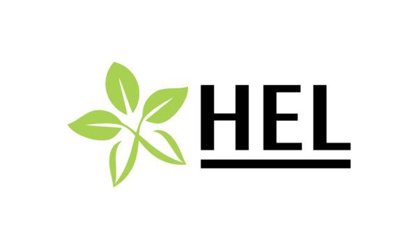 projektet HEL:s logotyp. Fem gröna blad och understruken svart text som säger HEL