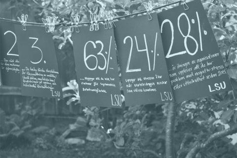 Bild på lappar med siffror som hänger på ett snöre. Bakom syns ett träd. Ovanpå bilden ligger ett blått filter.